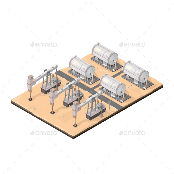 Isometric Vector Oil Drilling Concept - Buildings Objects