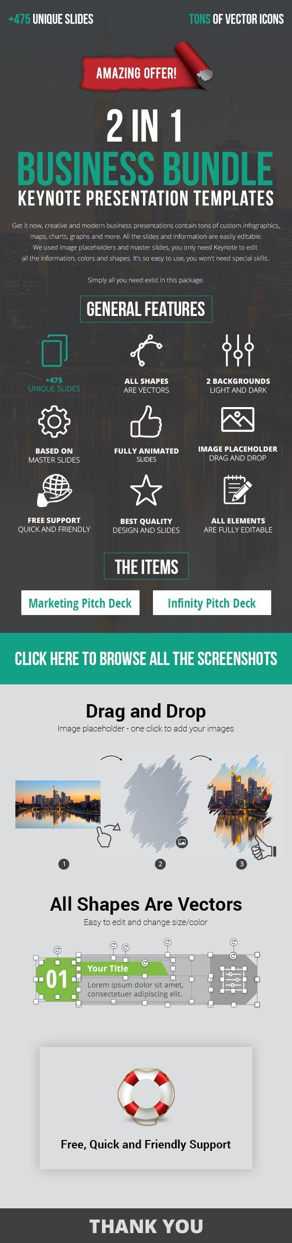2 in 1 Great Keynote Pitch Deck Bundle - Business Keynote Templates