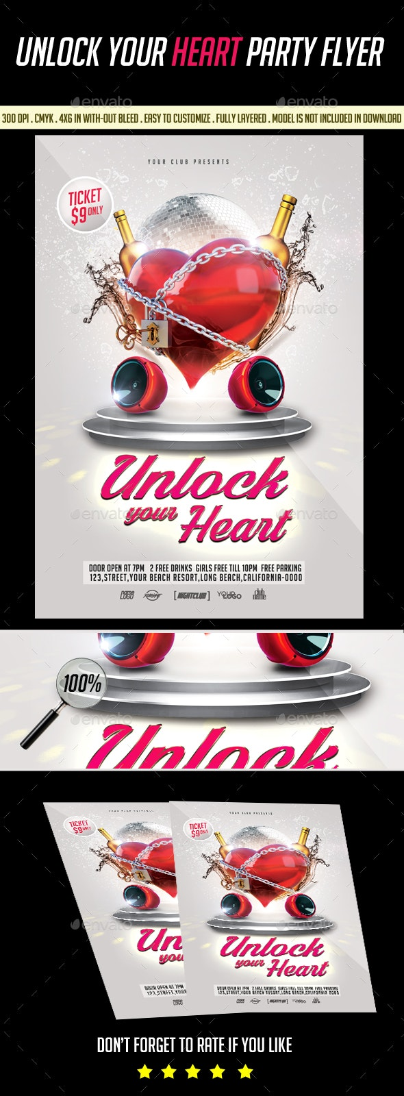 Unlock your Heart Party Flyer - Clubs & Parties Events