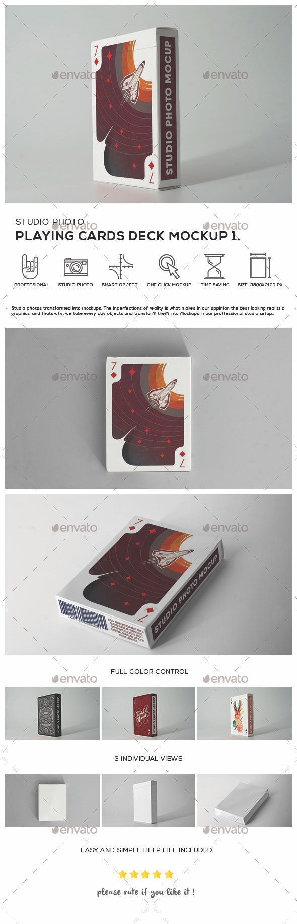Playing cards Deck Mock-up 1 - Product Mock-Ups Graphics