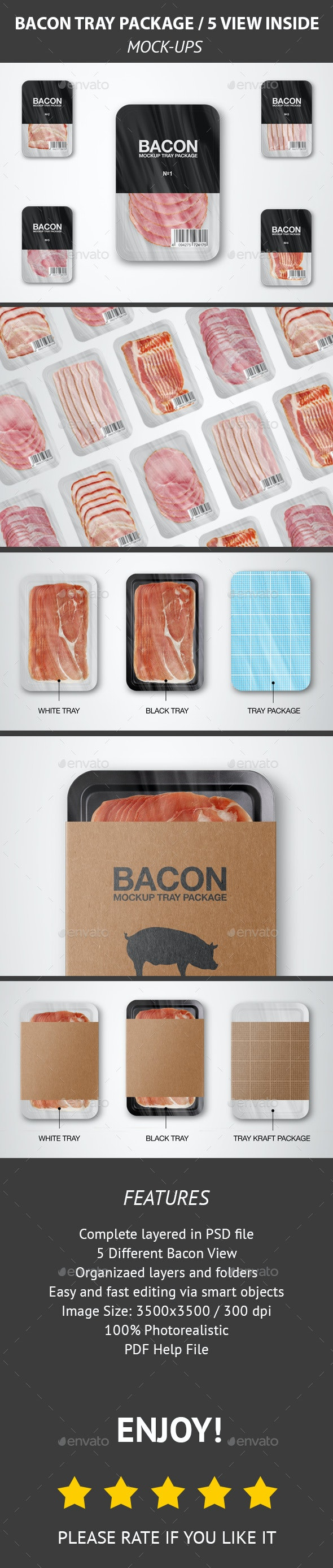 Bacon Tray Package MockUp - Product Mock-Ups Graphics
