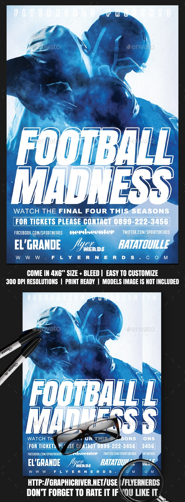 Football Madness 2K17 Sports Flyer - Sports Events