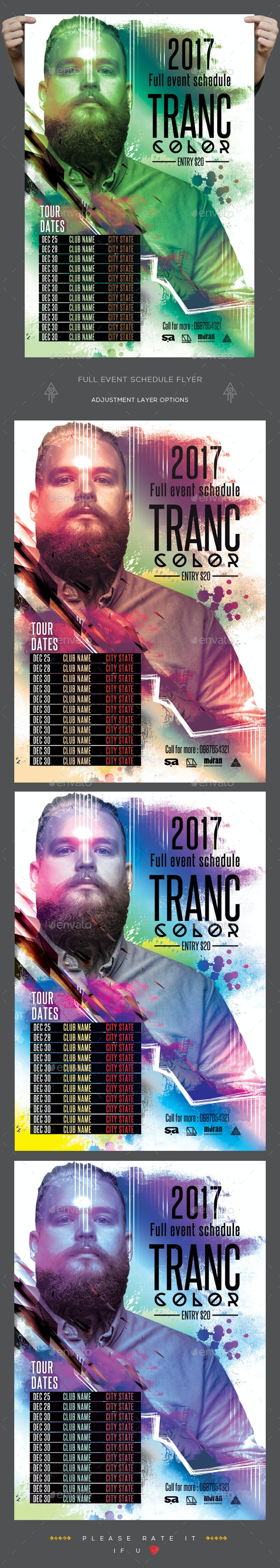 Full Event Schedule Flyer - Clubs & Parties Events