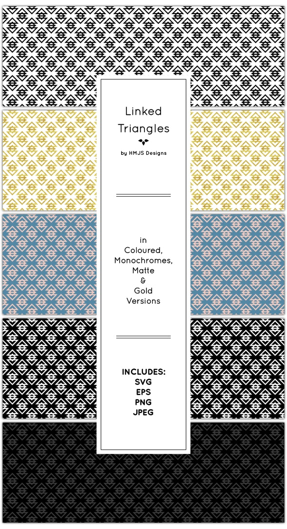 Linked Triangles Pattern Set - Textures / Fills / Patterns Illustrator