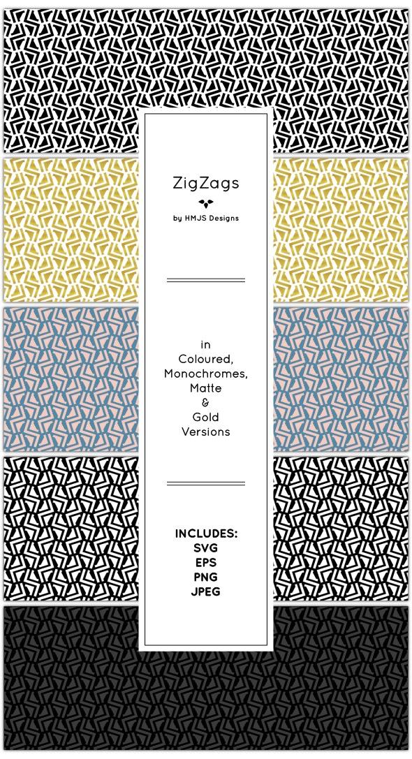 Zig Zag Pattern Set - Textures / Fills / Patterns Illustrator
