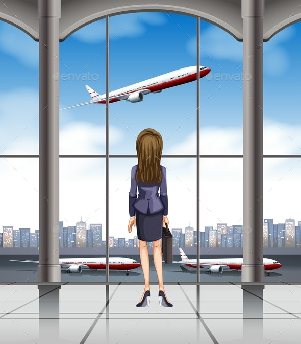 Woman Looking at the Plane Taking Off - People Characters