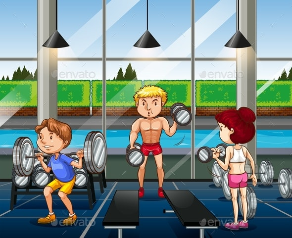 People Working Out in the Gym - People Characters