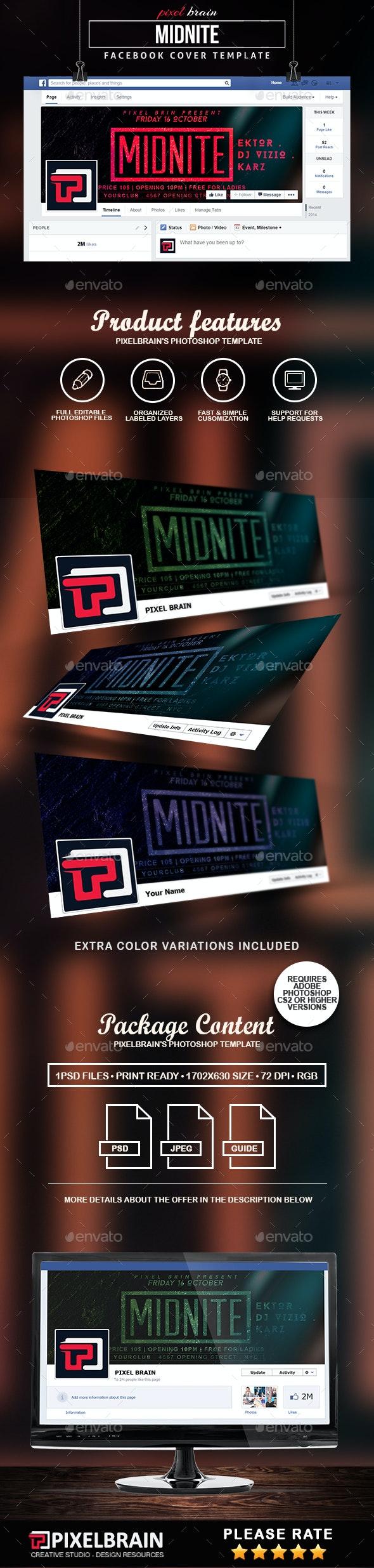 Midnite Facebook Cover Template - Facebook Timeline Covers Social Media