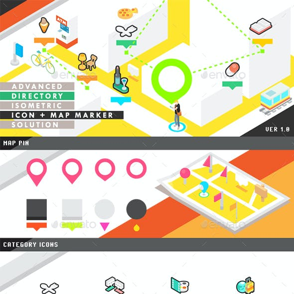 Advanced Directory Isometric Icon and Map Marker Solution