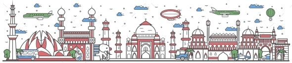 Travel in India Country Line Flat Design Banner - Travel Conceptual