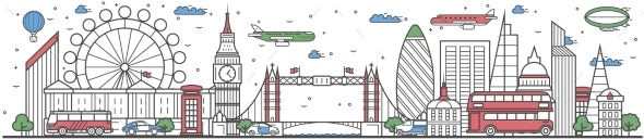 Travel in London City Line Flat Design Banner - Travel Conceptual