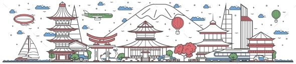 Travel in Japan Country Line Flat Design Banner - Travel Conceptual