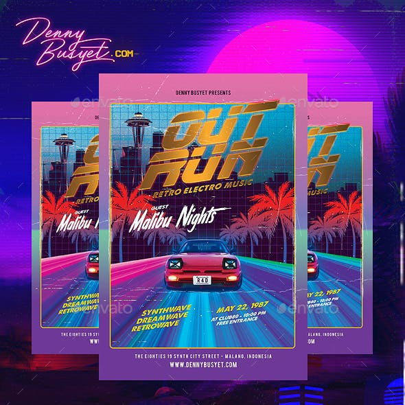 Out Run 80's Synthwave Flyer