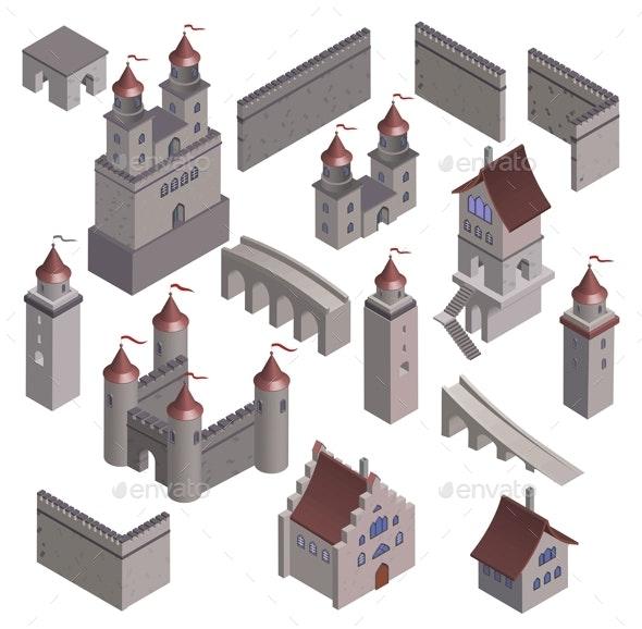 Set Medieval Fortress Fort. - Vectors