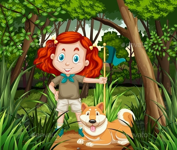 Girl and Dog in the Jungle - People Characters