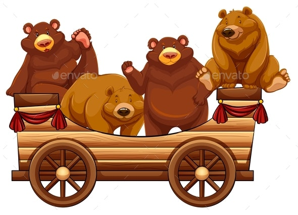 Four Bears Standing on the Wooden Wagon - Animals Characters