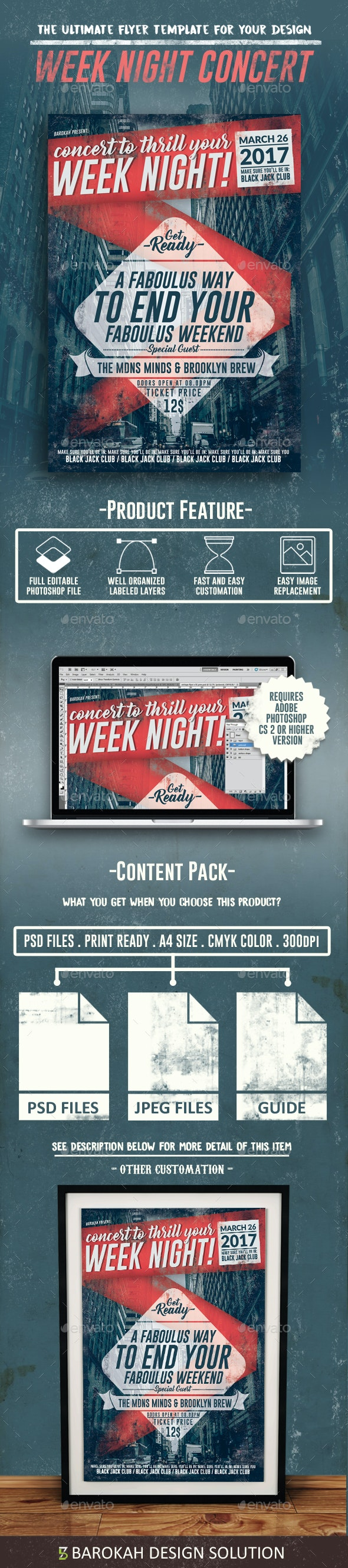 Retro Week Night Concert Flyer - Flyers Print Templates