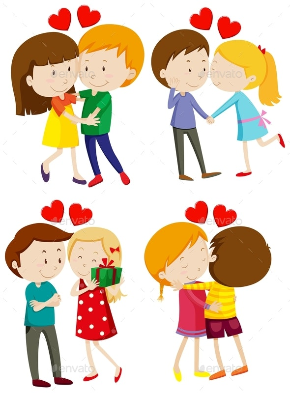 Love Couple Hugging and Kissing - People Characters