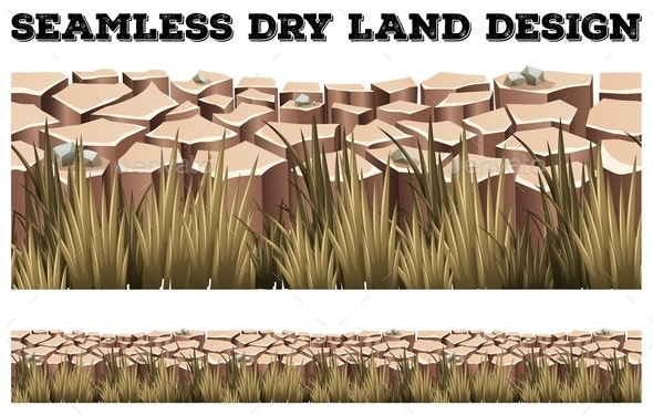 Seamless Dry Land with Grass - Landscapes Nature