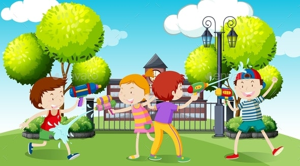 Children Playing Water Gun in the Park - People Characters
