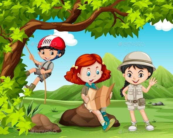 Children Camping Out in the Field - People Characters