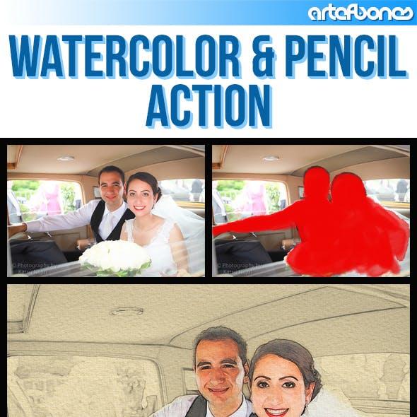 Watercolor & Pencil Action 2
