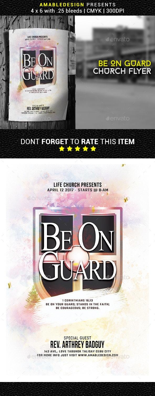 Be On Guard Church Flyer - Church Flyers