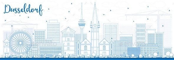 Outline Dusseldorf Skyline with Blue Buildings. - Buildings Objects