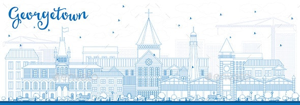 Outline Georgetown Skyline with Blue Buildings - Buildings Objects