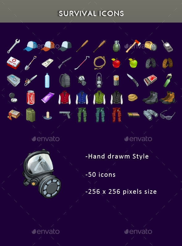 Survival Icons - Miscellaneous Game Assets