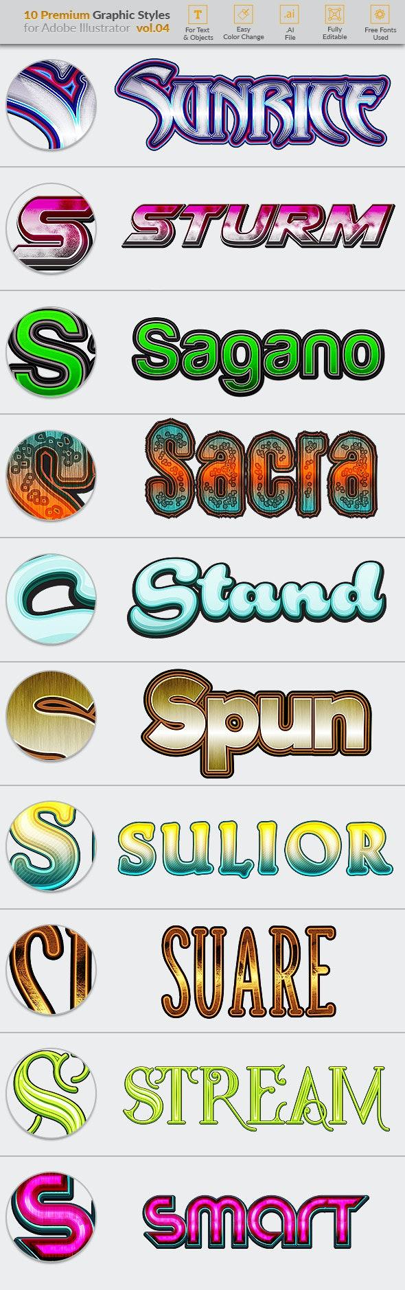 10 Premium Graphic Styles for Illustrator Vol. 04 - Styles Illustrator