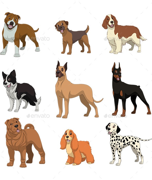 Set of Purebred Dogs - Animals Characters