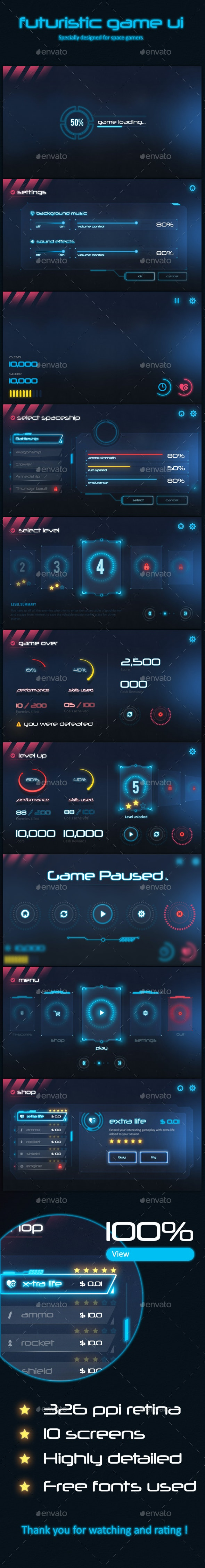 Futuristic Game Ui - User Interfaces Game Assets