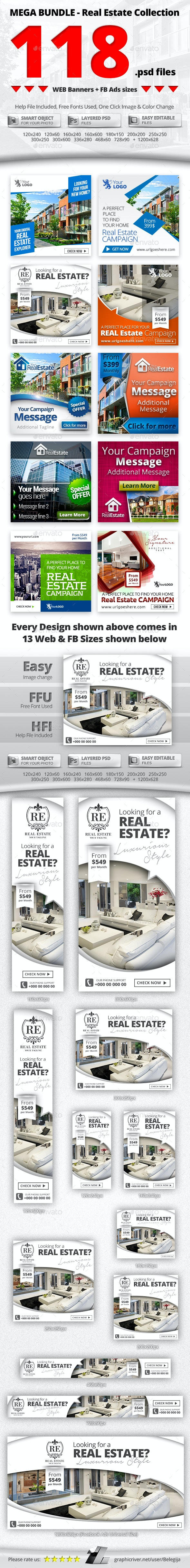 10 in 1 Real Estate Web & FB Banners - Mega Bundle 1 - Banners & Ads Web Elements