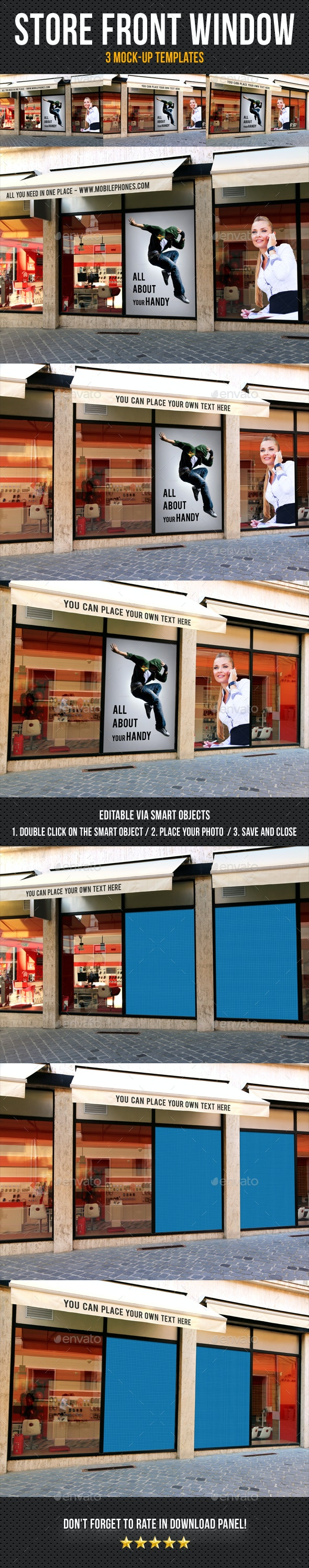 Store Front Window Mock-Up Pack 03 - Posters Print