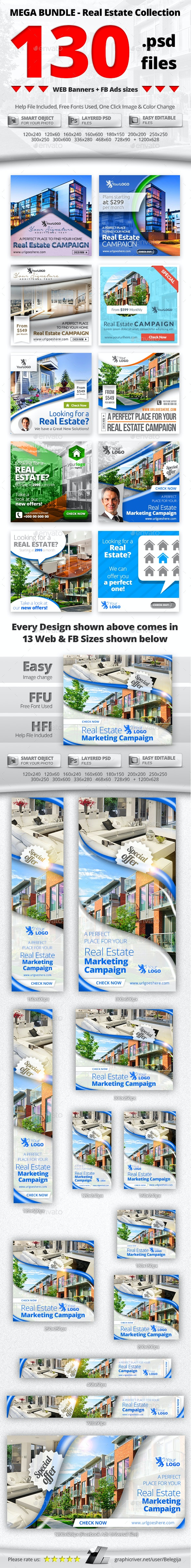 10 in 1 Real Estate Web & FB Banners - Mega Bundle 2 - Banners & Ads Web Elements