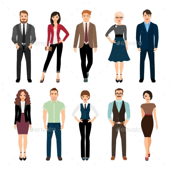 Casual Office People Icons Set - People Characters