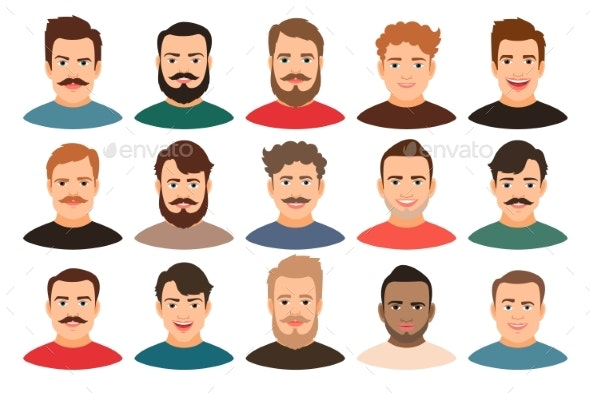 Cartoon Young Guy Portraits - People Characters