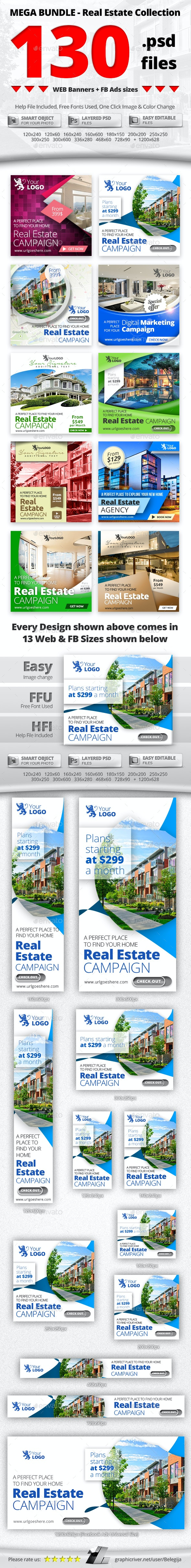 10 in 1 Real Estate Web & FB Banners - MEGA Bundle 3 - Banners & Ads Web Elements