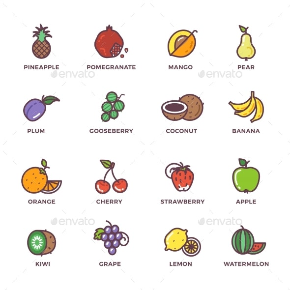 Fruits Raw Food Colored Vector Icons Set - Food Objects