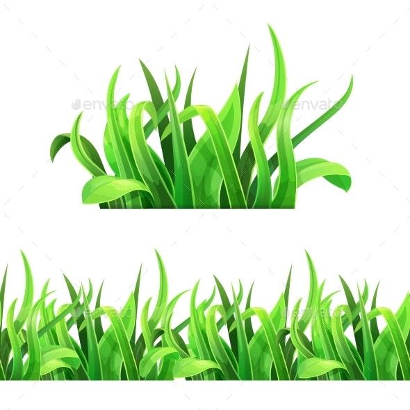 Green Grass Horizontal Seamless Vector - Flowers & Plants Nature