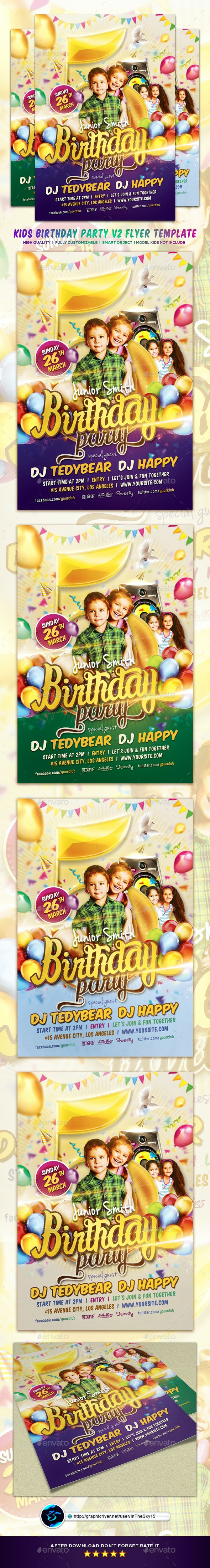 Junior Birthday Party Flyer Template - Flyers Print Templates