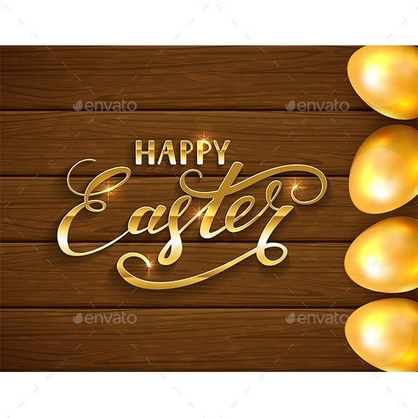 Lettering Happy Easter and Golden Eggs on Brown Wooden Background - Miscellaneous Seasons/Holidays