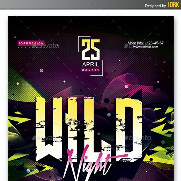 Club party. Wild Night flyer, poster and web banners.