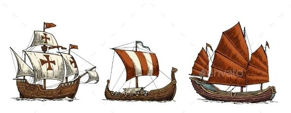 Sailing Ships Floating - Decorative Symbols Decorative