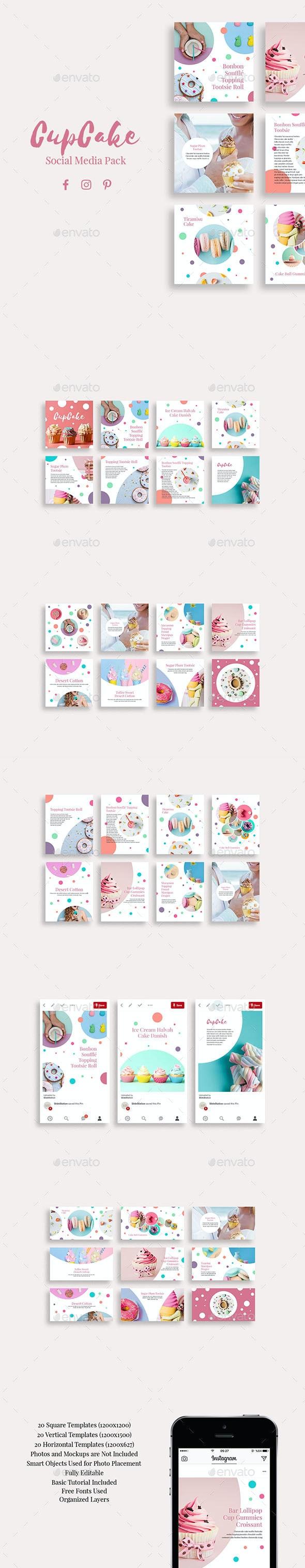 CupCake Social Media Pack - Social Media Web Elements