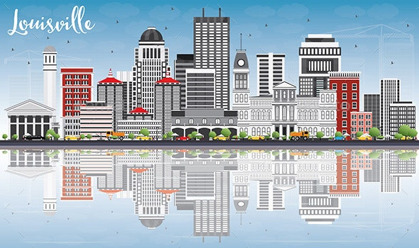 Louisville Skyline with Gray Buildings, Blue Sky and Reflections. - Buildings Objects