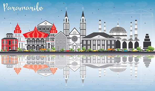 Paramaribo Skyline with Gray Buildings, Blue Sky and Reflections. - Buildings Objects