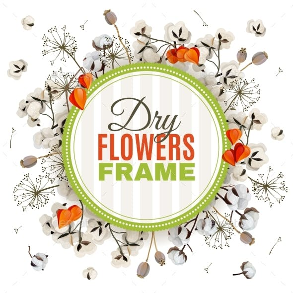 Floristic Background With Dry Flowers Frame