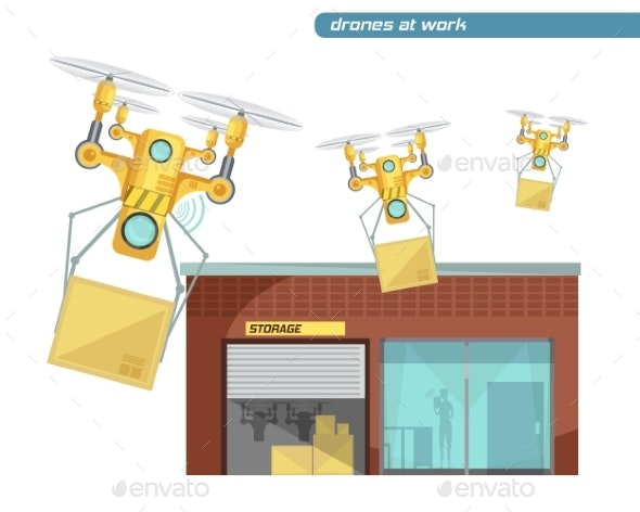 Using Drone Flat Illustration - Technology Conceptual